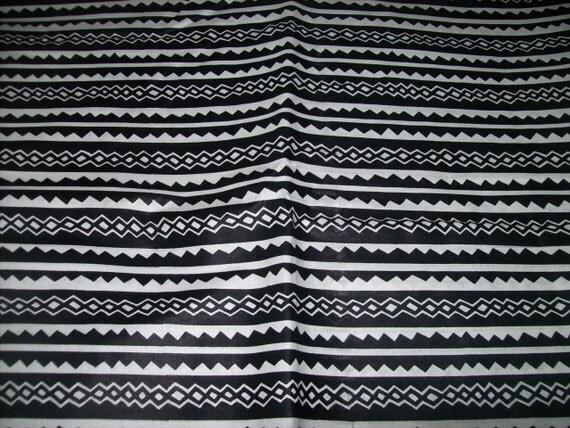 Black and White Tribal Print fabric from Mali per yard/