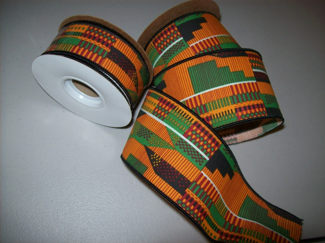 Kente Wired Ribbon Per 10 Yard Roll African Print Ribbons