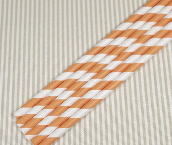 40% OFF SALE! Paper Straws - striped orange (12)