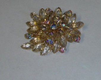 Vintage Goldtone & Marquis Crystal Rhinestones with Aurora Borealis Rhinestone Accents Large Pin Brooch