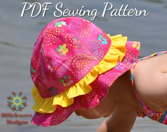 Sun Hat Pattern, PDF Sewing Pattern, Beach Hat Pattern, Child Hat Pattern, Baby Hat Pattern, Toddler Hat Pattern, Hat Sewing Pattern