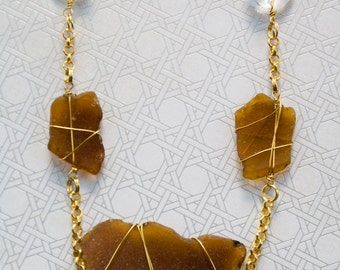 Gold Wrapped Auburn Sea Glass with Glass Bead Necklace
