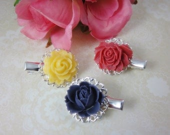 Flower Hair Clips. Set of 3.  Lovely yellow, lavender and pink roses silver plated filigree alligator hair clips.