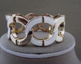 Enameled Bracelet, stretch cuff, gold and cream bracelet, wide, cuff bracelet, linked bracelet, circle bracelet