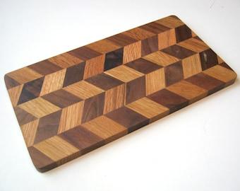 chevron herringbone wood cutting board or cheese board, small, immaculate shape ash oak walnut maple