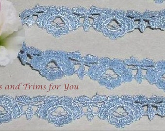 Blue Lace Trim 5/10 Yards Venise / Venice Rose Chain 5/8 inch Lot M55 Added Items Ship No Charge
