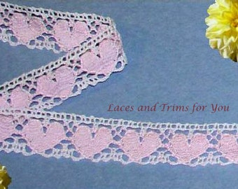 Pink Lace Trim Hearts 3/6 Yards Cotton Cluny Crocheted 7/8 inch wide Lot O74 Added Items Ship No Charge