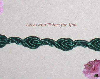 Dark Green Lace Trim 7/14 Yards Rosebud Braid 1/4 inch wide Lot R81 Added Items Ship No Charge