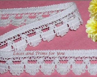 White Lace Trim 5/10 Yds Heavy Cotton Scalloped 1-1/8 inch Lot N86 Added Items Ship No Charge