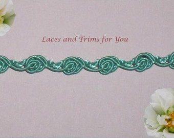 Green Rosebud Gimp 7/14 Yards Lace Trim 3/8 inch wide Lot R80 Added Items Ship No Charge
