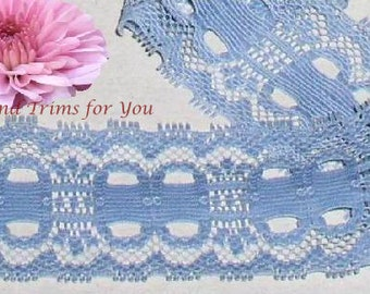 Blue Lace Trim 8/16 Yards Stretch Picot 2 inch wide Lot N41 Added Items Ship No Charge