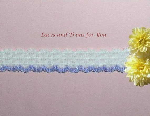 White Lavender Lace Trim 12/24 Yards Ruffled Stretch 1/2 inch wide Lot R24 Added Items Ship No Charge