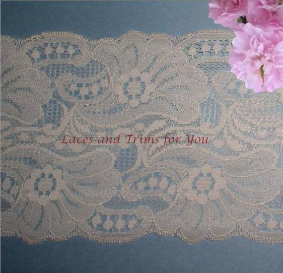 Nude Lace Trim 3 Yards Vintage Galloon 5-1/8 inch wide Lot M122 Added Items Ship No Charge