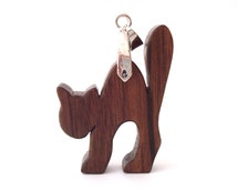 Halloween Jewelry Spooky Arched Cat Necklace Wood Hand Cut Pendant Scroll Saw Walnut