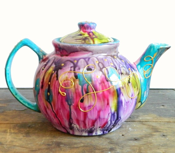 Items Similar To Teapot Hand Painted Unique One Off