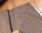 Guatemalan Fabric in Maroon and Yellow Ikat Stripe
