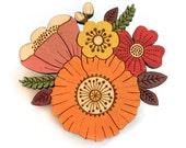 Autumn posy brooch ~ hand painted laser cut flower brooch