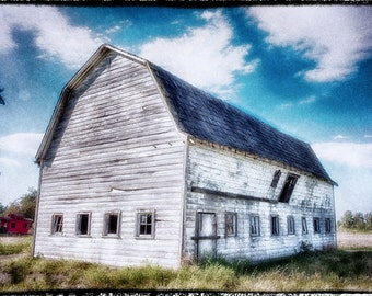 Vintage Barn, Farm, Large Print, Rustic, Rural, Fine Art Photography, Blue, White, fPOE, (6 sizes)