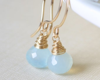 Aqua Chalcedony Earrings, Pastel Blue, Wire Wrapped Onion, Semiprecious Gemstone, Simple, Gold Jewelry, Free Shipping