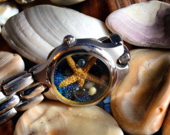 Blue and Brown Silver Tone  Starfish  Beach Watch