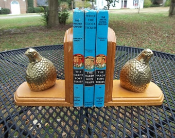 Vintage Set of TWO Quail Bookends Brass and Wood