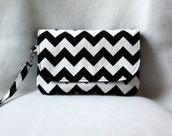 Chevron Diaper Clutch - Black and White Diaper Clutch with Optional Changing Pad