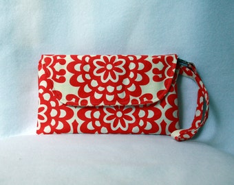 Envelope Clutch with Zipper Closure - Wristlet Clutch - Amy Butler Wallflower Red