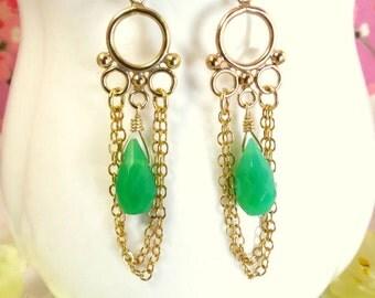 Green chrysoprase gold tassle chain chandelier earrings, mint green gold bubble tassle earrings, St Patricks day green chandelier earrings