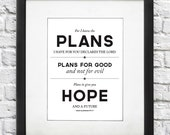 Scripture Art Print - Plans for Good & Hope - Jeremiah 29:11