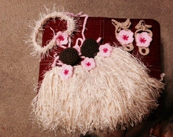 Baby Girl or Toddler Hawaiian HULA Set w Barefoot Sandals Photo Prop Grass Skirt Coconut Bra Headband Sandals - Made to Order