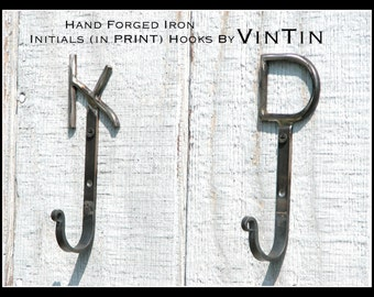 SET of 2 Hand Forged Iron Initials (in PRINT) Hooks by VinTin