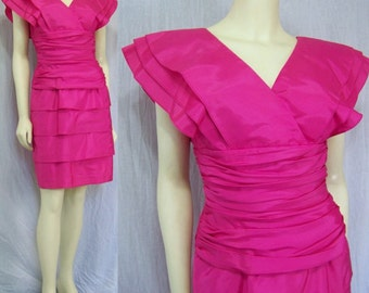 Vintage 1980s pink party dress by Pantagis Tiered skirt Taffeta