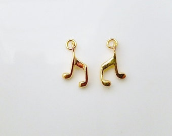 Vermeil  Musical charm,(15x10mm), gold plated over sterling silver