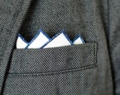 Men's Pocket Square in White - navy blue handkerchief wedding groomsmen suit washable