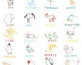 Animal A-Z Giclee Print