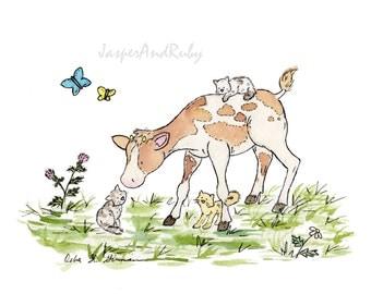 Nursery Wall Art, Cow Nursery Art, Cow and Cats, Nursery PRINT, Children's Art Farm Nursery Art Kids Wall Art Cowboy Nursery Kids Room Decor