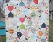 SALE - Happy Go Lucky Round House Baby Quilt