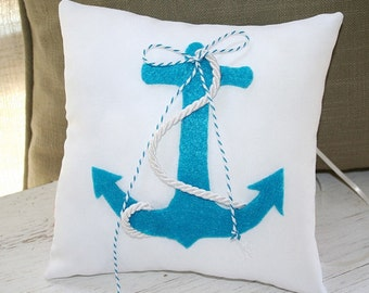 Ring Pillow - Nautical Chic - Aqua Anchor - Sailor Sea Twine - Ring Bearer - Matching Flower Girl Basket Available