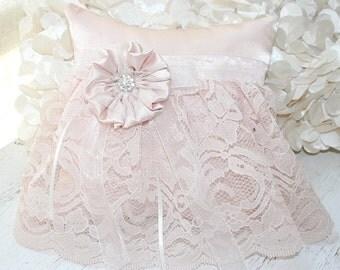 Wedding Pillow, Pink Lace, Satin, Handmade Flower, Crystal Brooch Accent - Ring Bearer Pillow - Matching Flower Girl Basket Available