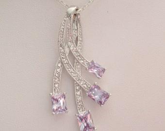 Purple Rhodium Necklace Amethyst Colored CZs 18 Inch Vintage V0274