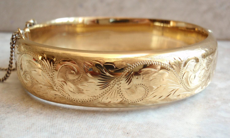 18k Rolled Gold Engraved Wide Bangle Bracelet Made in England