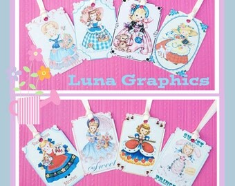 Playing Dress Up Gift Tags set of 8 No.565