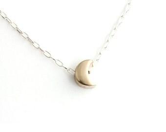 Moon Necklace in Bronze