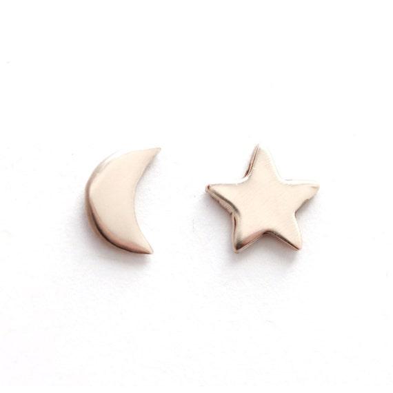 Moon Star Earrings in Bronze