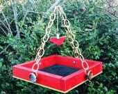 RESERVED LISTING FOR KFerry33 - I Heart Birds - Red Hanging Bird Feeder Tray