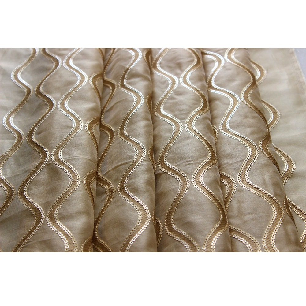 Sequins scallop stitch embroidery sheer curtain fabric panels for Sheer fabric