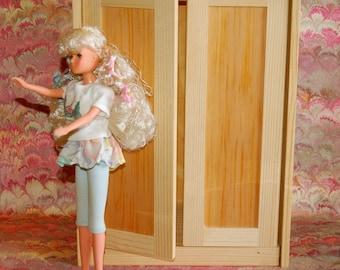 Doll Armoire, Handmade Pine for Barbie, Momoko, or Blythe etc.