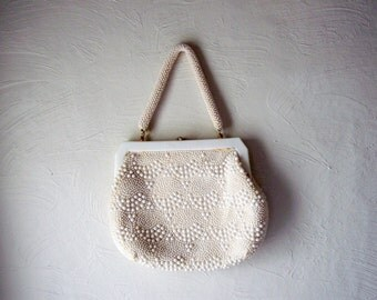 vintage white beaded purse - plastic or bakelite frame - large evening bag - 1950s cocktail bag