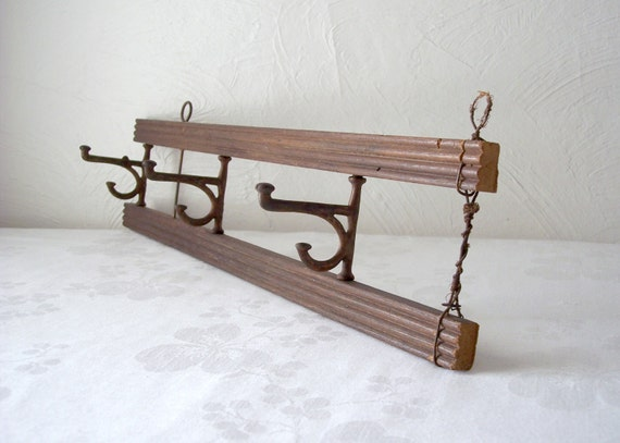 Vintage coat rack with hooks hat rack small antique wood for Fold down coat hooks