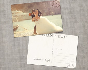 """Wedding Thank You Cards, Personalized Vintage Postcard - the """"Mercedes"""""""